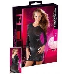 Lesklé šaty - čierne/strieborné