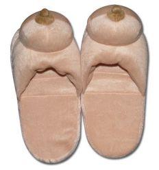 Plyšové papuče prírodnej farby - v tvare pŕs