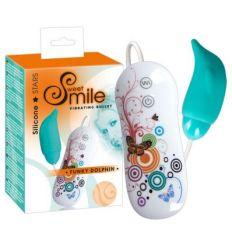 Silikónové vibračné vajíčko SMILE Funky Dolphin biele-tyrkysové