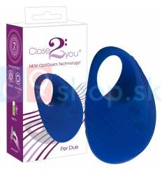 Nabíjateľný krúžok na penis Close2You Per Due modrý