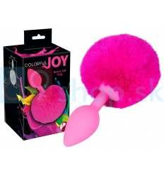 Silikónový análny kolík s chvostom Butt Plug Colorful Joy Bunny Tail