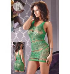 Kvietkované zelené mini šaty s tangami zelené MandyMystery