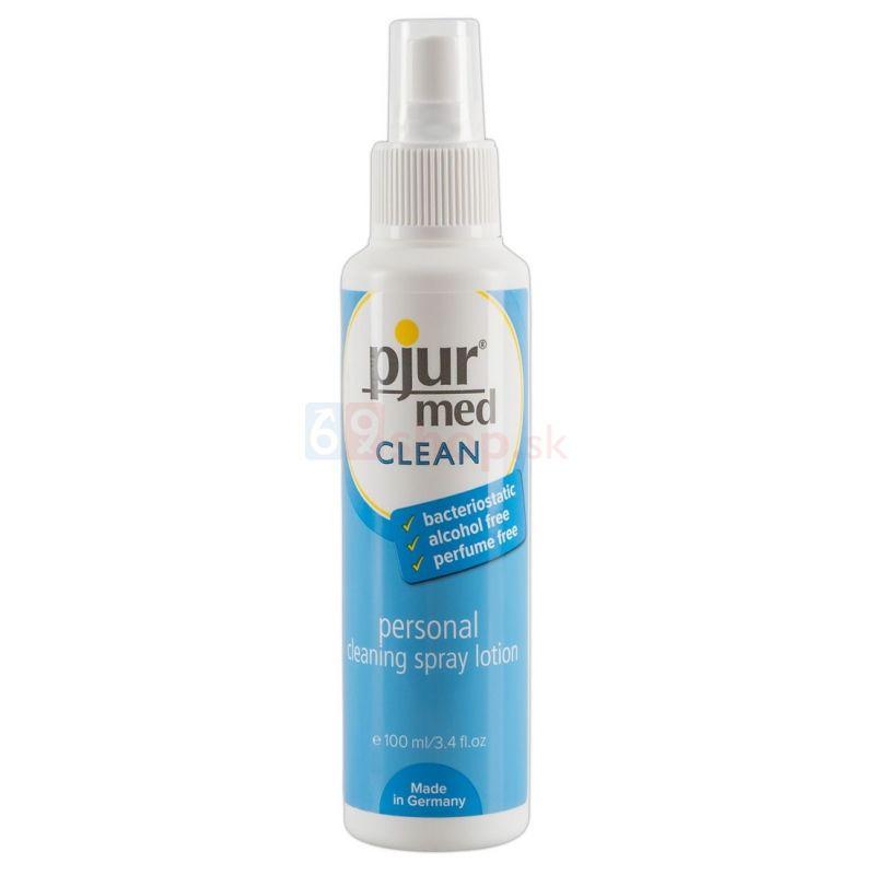 Pjur med čistiaci sprej na intímne časti tela a na produkty
