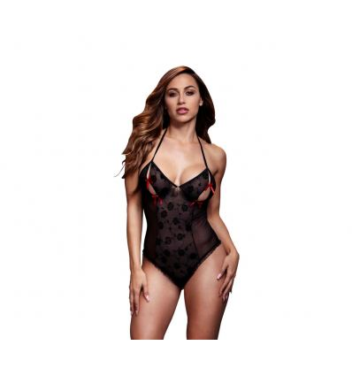 Erotické body Baci Black Lace Bodysuit & Bra Slits Red Bow One Size
