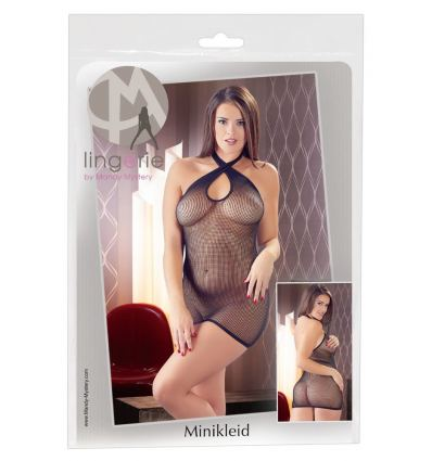 Sieťované minišaty Mandy Mystery Cross Neck Fishnet